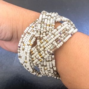 ♦️Braided Memory Wire Cuff Seed Bead Bracelet